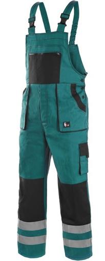 Obrázok z CXS LUXY BRIGHT Pracovné nohavice s trakmi zeleno / čierne