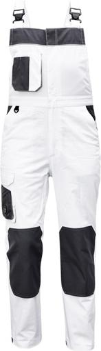 Obrázok z Červa CREMORNE Pracovné nohavice s trakmi biela / šedá