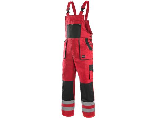 Obrázok z CXS LUXY BRIGHT Pracovné nohavice s náprsenkou červeno / čierne
