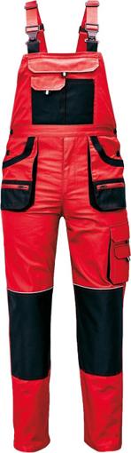 Obrázok z Fridrich & Fridrich CARL BE-01-004 Pracovné nohavice s trakmi červené