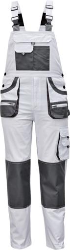 Obrázok z Fridrich & Fridrich CARL BE-01-004 Pracovné nohavice s trakmi biele