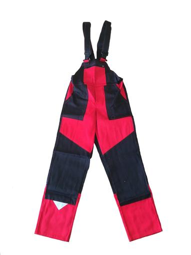 Obrázok z M+P DAVID Detské pracovné nohavice s trakmi čierno / červené
