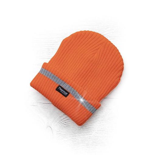 Obrázok z ADLER SPARK Zimná čiapka pletená + fleece hi-viz oranžová