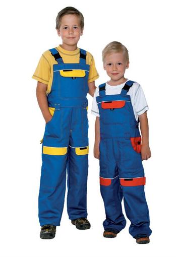 Obrázok z COOL TREND Detské pracovné nohavice s trakmi modro / žlté