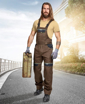 Obrázok z COOL TREND Pracovné nohavice s trakmi hnedé
