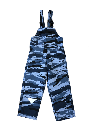 Obrázok z M + P DAVID Detské pracovné nohavice s trakmi modrý maskáč