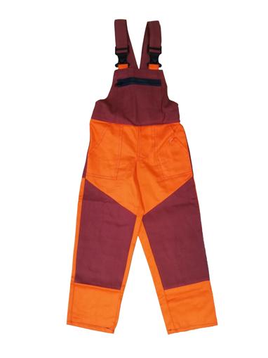 Obrázok z M+P DAVID Detské pracovné nohavice s trakmi oranžovo / vínovej