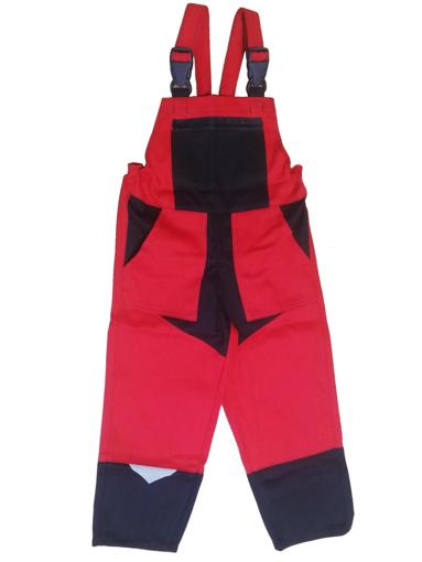 Obrázok z M+P DAVID Detské pracovné nohavice s trakmi červeno / čierne