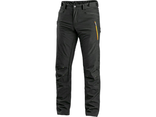 Obrázok z CXS AKRON Pánske nohavice do pása, softshell, čierne s HV žlto / oranžovými doplnkami